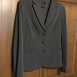 Grey Blazer Metal Buttons Front Sleeve